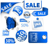 Set of blue discount elements — Stock Vector