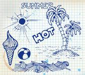 Summer doodle elements — Stock Vector