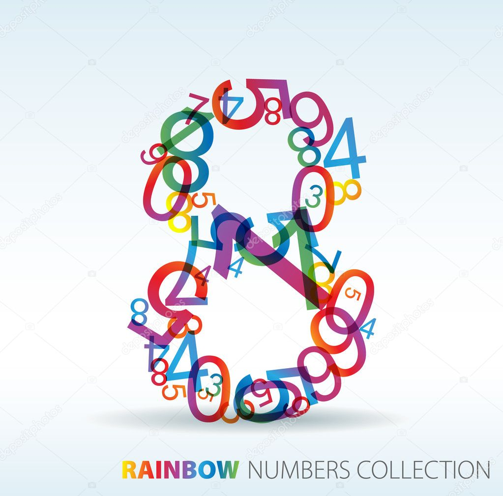 Number eight made from colorful numbers -  check my portfolio for other numbers — Stock Vector #6100053