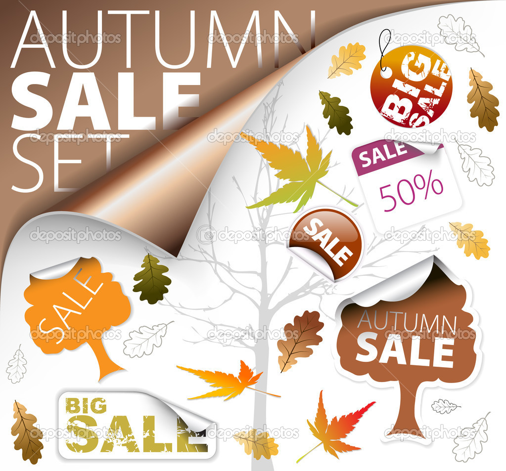 Set of autumn discount tickets, labels, stamps, stickers, corners, tags (vector) — Stock Vector #6125168