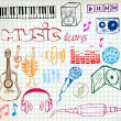 Music hand-drawn icons — Stock Vector