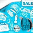 Royalty-Free Stock Immagine Vettoriale: Blue discount tickets, labels, stamps