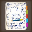 Back to school poster with doodle illustrations — Stock Vector