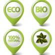 Set of green organic, natural, eco, bio food tags — Image vectorielle