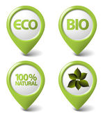 Set of green organic, natural, eco, bio food tags — Stock Vector