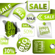 Stock Vector: Set of green discount elements