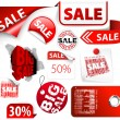 Set of red discount tickets, labels, stamps — Stock Vector