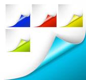 Kleurrijke papieren met een krul — Stockvector