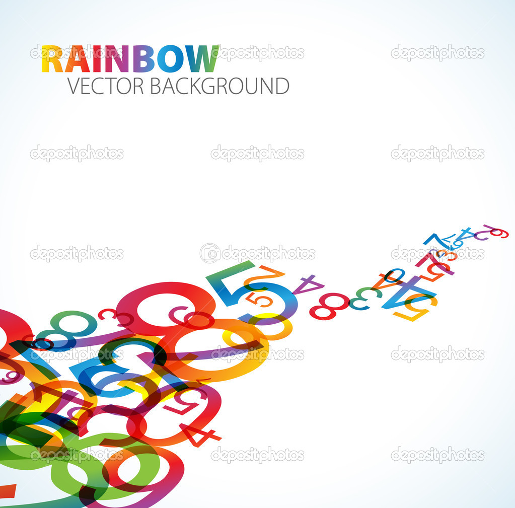Abstract background with colorful rainbow numbers — Stock Vector #6217775