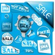 Set of blue sale tickets, labels, stamps ... — Stockvector