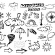 Set of weather hand drawing icons — Stock Vector