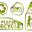 Set of recycled labels badges and stickers — Stock Vector