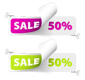 Purple and green sale coupons — Stock Vector