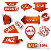 Uppsättning av försäljning biljetter, etiketter, stämplar, klistermärken, hörn, taggar — Stockvektor