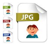 Zestaw ikon dla rozszerzeń plików obrazu — Wektor stockowy