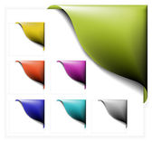 Set of colorful corner ribbons — Stock Vector