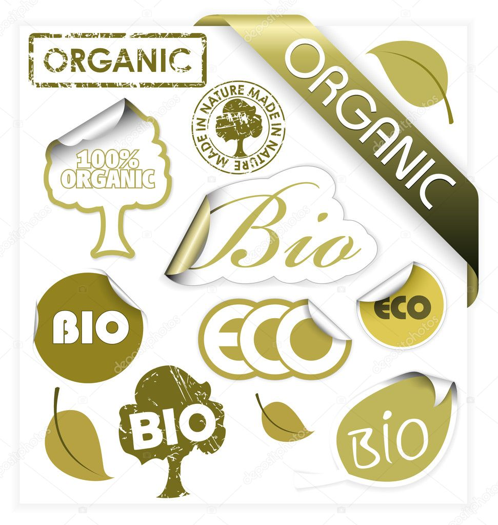 Set of vector bio, eco, organic elements - labels, stickers, stamps, ribbons  — Stockvectorbeeld #6278685