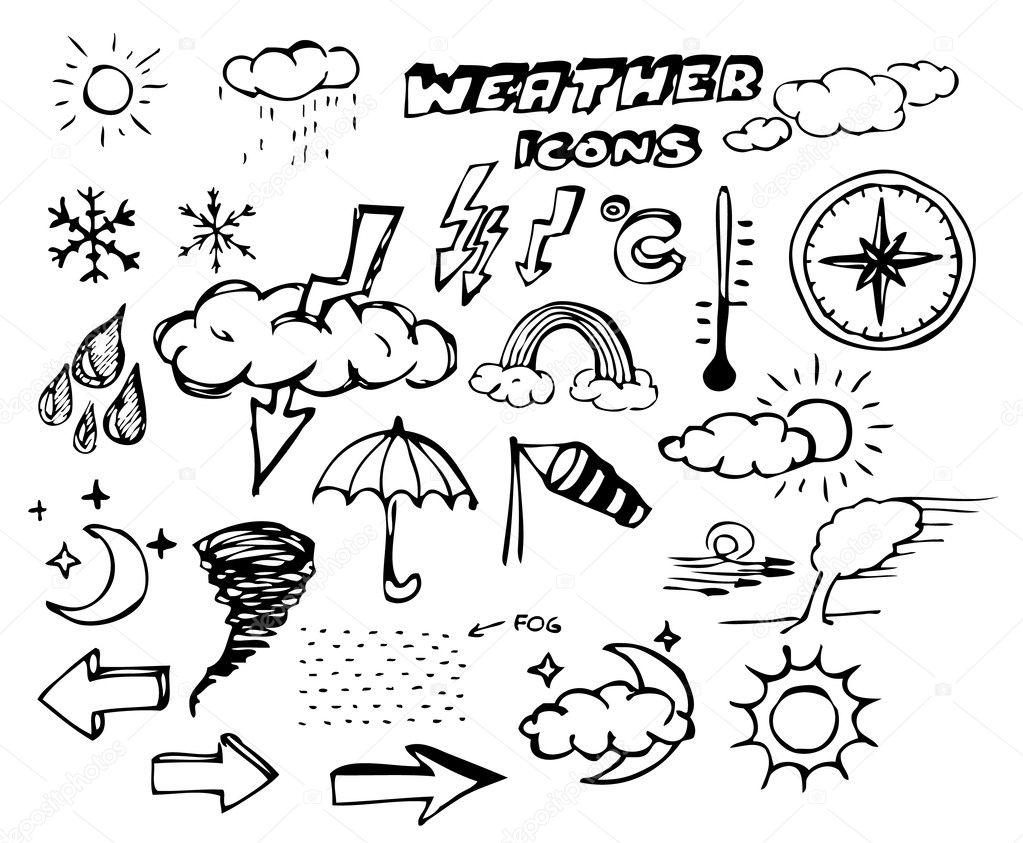 天气手绘图图标集 — 图库矢量图片