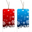 Stock Vector: Christmas tags with snowflakes