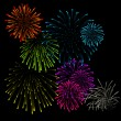 Set of fireworks vector illustrations  — Stock Vector