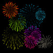 Set of fireworks vector illustrations  — Imagen vectorial