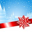 Red ribbon with bow with Christmas landscape — Vector de stock #6286812