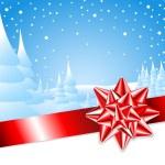 nastro rosso con fiocco con paesaggio di Natale — Vettoriale Stock