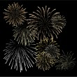 Set of silver and golden fireworks - Stock Vector