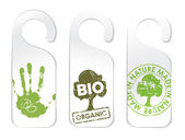 Set of three tags for organic products — Stock Vector
