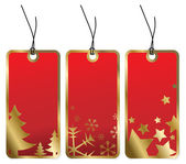 Red Christmas tags with golden borders — Stock Vector