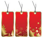 Rode kerstmis tags met gouden randen — Stockvector