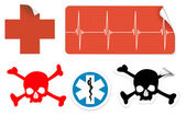 Medical symbols on stickers — Stock Vector