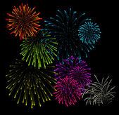 Set of fireworks vector illustrations — Stock Vector