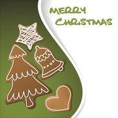 Vánoční přání - perníky s bílou polevou — Stock vektor