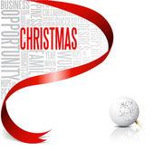 Vánoční přání s červenou stužku — Stock vektor