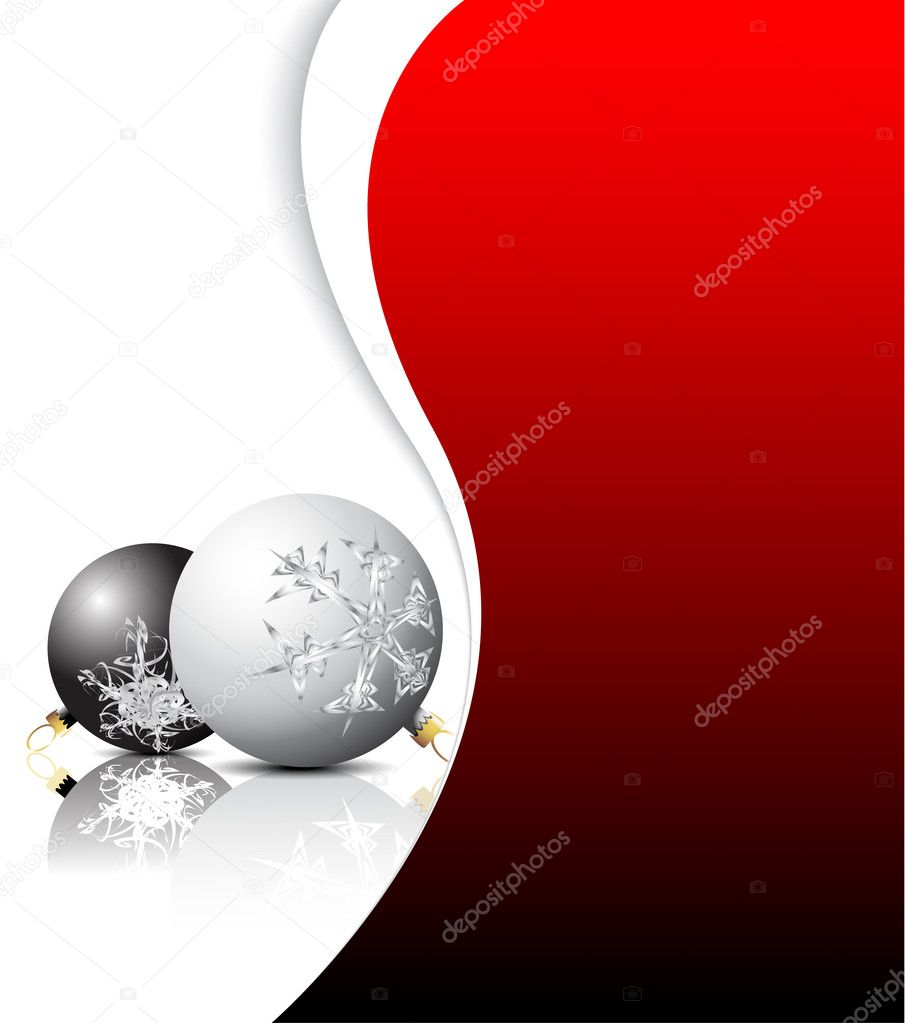 Christmas card - black and white bulbs with red place for your text — Stock Vector #6285913