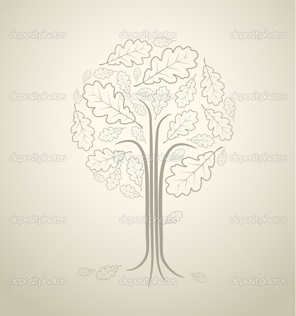 Vintage abstract tree drawing made from oak leafs — Stock Vector #6286120