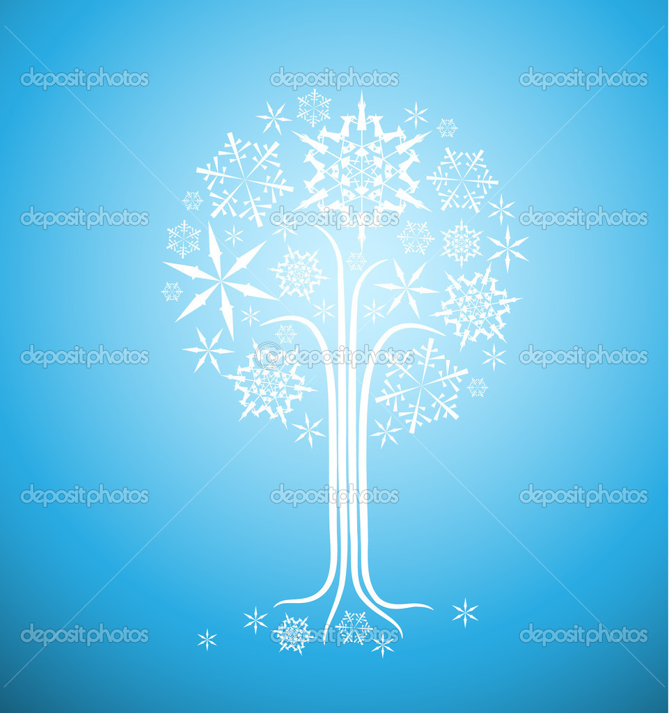 Christmas winter abstract tree vector illustration with snowflakes  Stock Vector #6286896