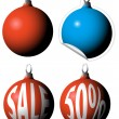 Christmas bulbs as a sale tags — Stock Vector