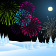 Winter christmas landscape with fireworks — Stock Vector