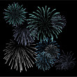 Royalty-Free Stock Vector Image: Set of blue fireworks illustrations