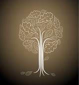 Vintage abstract tree drawing — Stock Vector