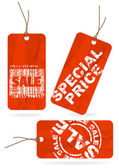Set of red crumpled sale paper tags — Stock Vector