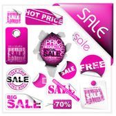 Set of pink sale tickets and labels — Stock Vector