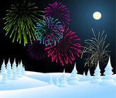 冬季圣诞风景与烟花 — 图库矢量图片