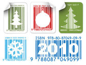 Labels with Christmas bar codes — Stock Vector