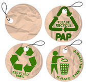 Grunge paper tags for recycling — ストックベクタ