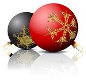 Black and red Christmas bulbs — Stock Vector