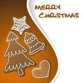 Weihnachtskarte - pfefferkuchen mit weißer zuckerglasur — Stockvektor