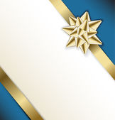 Golden bow on a ribbon with white and blue background — Stock Vector